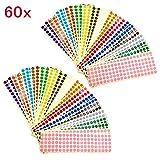JZK 60 x Fogli 10mm bollini adesivi colorati 15 colori adesivi rotondi piccoli etichette colorate per codifica etichette adesive segnapagina