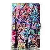 XXIAZHI,Color Tree Funda de Cuero Genuino Samsung Galaxy Tab A6 10.1 SM-T580 T580N T585 T585C Tablet PC Funda(Color:COLORMIX)
