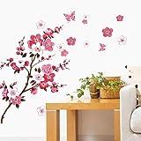 WandSticker4U® - Muurtattoo KIRSCHBLAUT rood I Muurfoto's: 120x50cm I Muurstickers Bloemen tak vlinders perzik bloesem Sakura