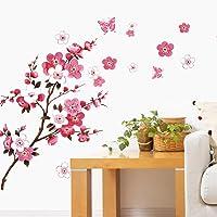 WandSticker4U®- Stickers muraux FLEURS DE CERISIER avec papillons I 120x50 cm I rose rouge sakura vigne floral branche…
