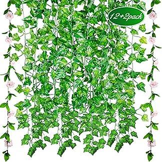 12pcs*2.1m Plantas Colgantes Artificiales,Guirnaldas Artificiales,GVOO 2pcs*2.45m Enredaderas Artificiales con Rosas,Ivy Vine, Decoración para Jardín Hogar Boda Fiesta