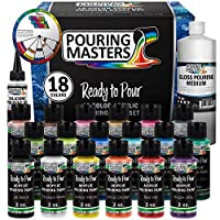 Pouring Masters 18 Color Ready to Pour Acrylic Pouring Paint Set - Premium Pre-Mixed High Flow 2-Ounce Bottles - for Canvas, Wood, Paper, Crafts, Tile, Rocks and More