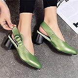 Damen Sandalen Baotou Leder Schuhe in Europa und Amerika mit Leder Frauen Sandalen, Grün 39