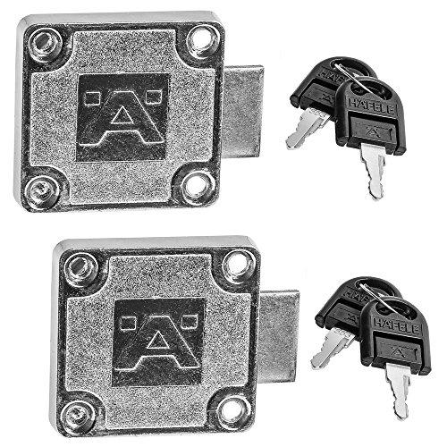 2 Stück - Schrankschloss Möbelschlösser Aufschraubschloss Zylinder-Möbelschloss mit Schlüssel SET für Schubladen & Schränke | Stahl vernickelt | Dornmaß: 25 mm | Möbelbeschläge von GedoTec®