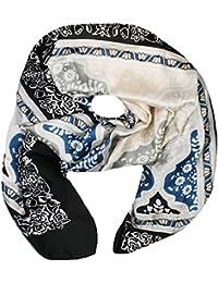 Mevina Seiden-Tuch für Damen Halstuch Blumen Indian Retro Paisley Schal Seidenschal