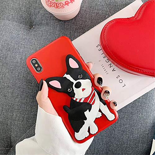 GPPG Kreative niedliche 3D Stereo Hundekarikatur TPU-Fallschutz Gehäuse Kompatibel mit Apple-Telefonkasten Für iPhone XS max/XS/XR / 8/7 Plus,Red,IPHONE7/8plus Wasserdicht Stereo-gehäuse