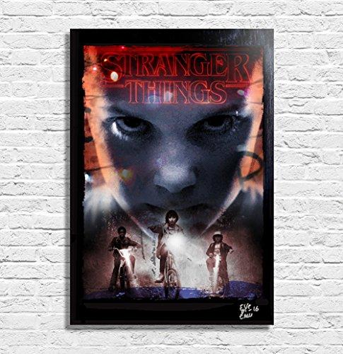 stranger-things-netflix-quadro-originale-con-cornice-dipinto-stampa-poster-stampa-su-tela-film-serie