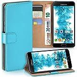 Pochette OneFlow pour Samsung Galaxy A3 (2016) housse Cover avec fentes pour cartes | Flip Case étui housse téléphone portable à rabat | Pochette téléphone portable étui de protection accessoires téléphone portable protection bumper en AQUA-CYAN