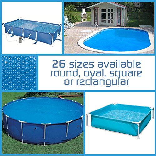 Linxor ® Pool Solarfolie Solarabdeckplane Poolheizung, rund, oval, quadrat oder rechteck, 180 μm, für Pools von Intex oder anderen Herstellern / 26 verfügbare Größen / EG-Norm