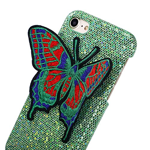 Felfy iPhone 7 Schutz,iPhone 7 Hülle Ultra Dünne High Quality Case Plastic Hülle Cover Schutzhülle Backcover iPhone 7 Schale de Protection Case Cas [Schmetterling Stickerei + Bling Paillette] für Appl Schmetterling Grün