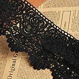 Ruban en dentelle noire - 2,7m - 7,9cm - Pour robe, mariage, voile, accessoire de bricolage