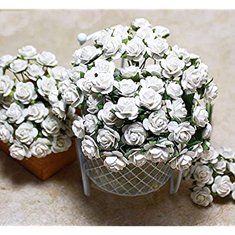 Rosa bianca carta di Saa Mulberry Scrapbooking mestiere DIY 100pcs 12mm fiore matrimonio