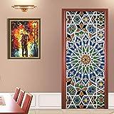 hnxsl Adesivo Porta Vetri Colorati Tema Religioso Parete Camera da Letto Decorazione della Casa Poster Adesivo Porta in PVC Impermeabile 77 * 200cm