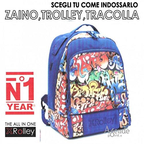 Zaino XROLLEY 3 in 1 trolley zaino e tracolla con multitasche fantasia graffiti