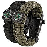 SURVIVAL KIT - Paracord Armband 2er Set - Feuerstarter
