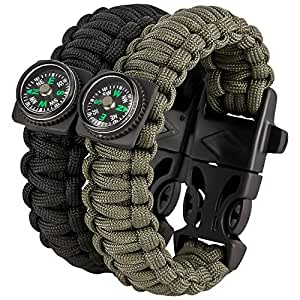 SURVIVAL KIT - Paracord Armband 2er Set - Feuerstarter, Pfeife & Kompass - Überlebensausrüstung mit Anleitung