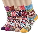 Kfnire 5 paires femmes hiver style vintage tricoter des chaussettes d'équipage en laine chaude