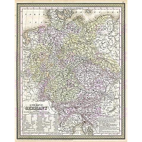 MAPPA ANTICA GERMANIA STORICI MITCHELL 1850 POSTER PAM1134, REPLICA