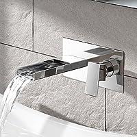 IBathUK-Rubinetto a cascata in metallo cromato, design moderno Miscelatore a muro per lavandino TB2304
