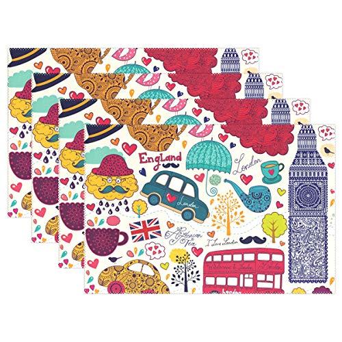 Jereee Welcome In London Set von 1 Platzdeckchen hitzebeständig Tischunterlage waschbar schmutzabweisend Anti-Rutsch-Polyester Tischsets für Küche Esszimmer Dekoration, Vinyl, 4er-Set