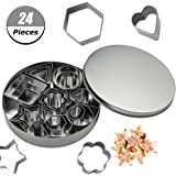 tao pipe Cookie Cutter Set, 24 PCS Stainless Steel Biscuit Cookies Cutters Molds Flower, Heart, Strar, Geometric Shapes Best