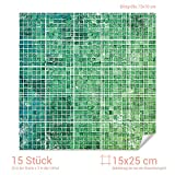 Graz Design 768063_15x25_70 Fliesenaufkleber Mosaik - Muster Grün | mit Fliesenbildern die Fliesen-Wände überkleben (Fliesenmaß: 15x25cm (BxH)//Bild: 70x70cm (BxH))