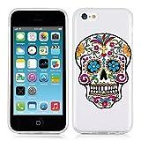 Coque Iphone 5C Tete de Mort Mexicaine Calavera Fleur Transparente