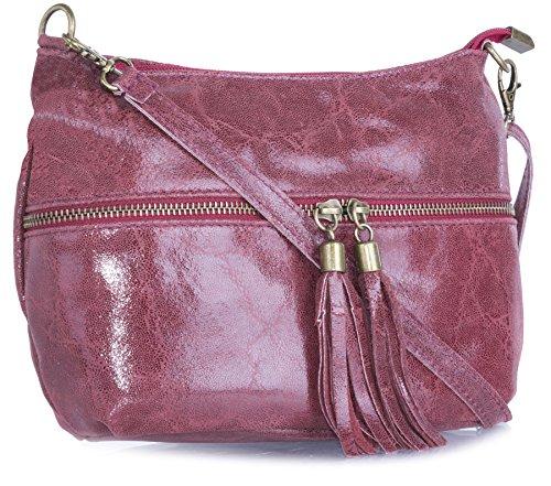 bag pelle lunga vera frontale Womens estrattore nappa in Handbag Shop Big Maroon tasca wqTP00