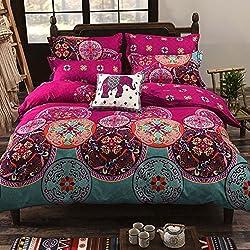 Oceanheart Parure de lit 2 Personnes Multi-Color Motif Vintage Orientale 3 Pièces Drap Housse de Couette Multicolore (220 x 238cm)