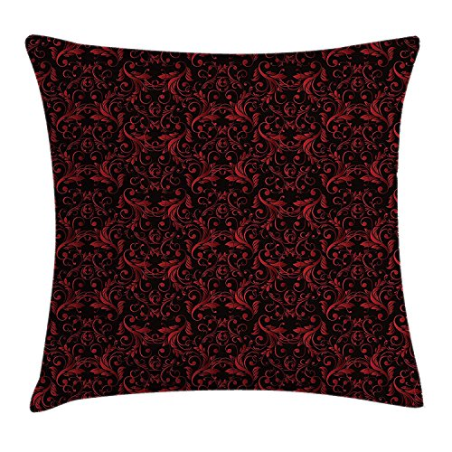 Red and Black Throw Pillow Cushion Cover, Victorian Floral Design with Ivy Swirls Flowers Ethnic Design Image Print, Decorative Square Accent Pillow Case, 26 X 26 inches, Ruby Black Kings Crown Ruby
