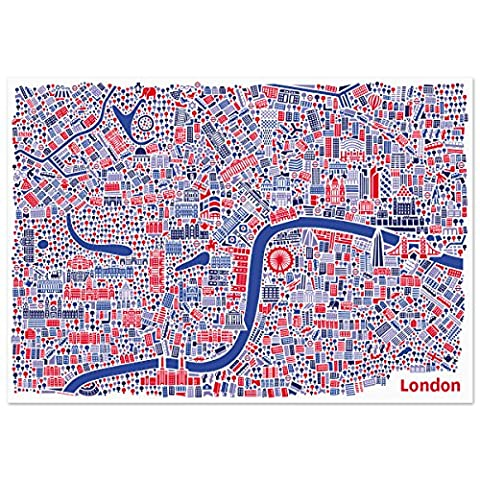 London Poster (70x50) city map art print illustration including Buckingham Palace, Tower of London, Tower Bridge, Madame Tussauds, London Eye, Westminster Abbey, Covent Garden, Piccadilly Circus, Tate Modern and Big Ben by Vianina