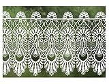Scheibengardine 32 cm hoch x 100 cm breit weiß Spitze Landhausstil