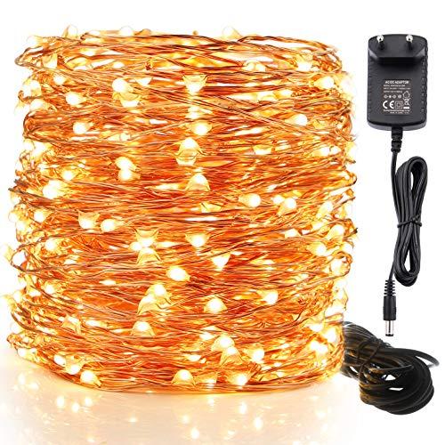 Moobibear Lichterkette für Innen und Aussen mit 300 LEDs in Warmweiß, Aus Kupferdraht für Garten, Weihnachten oder als Zimmerdekoration IP65, Stimmungsvolles Licht, DAS Erfolgsprodukt aus den USA !
