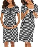 UNibelle Damen Umstandskleid Umstandsmoden Schwangerschaftskleider Maternity Kleid Brautkleid Sommer Kleid Kurzarm YDF1 XL