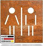 INOXSIGN Vintage WC-Schild C.05.R – Selbstklebendes Retro Toiletten-Schild – klar erkennbar und werkzeuglose Montage – Unisex Kloschild – Shabby chic – Made in Germany