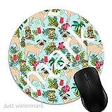 Maus-Pad Tropischer Mops,7 inch rund Mouse-Pad mit rutschfester Unterlage Standard 1V1513