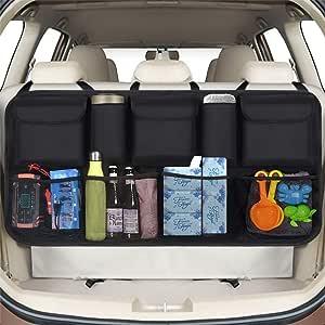 Phixilin Kofferraum Organizer Auto Upgrade Auto Aufbewahrungstasche Mit 9 Taschen Klett Befestigung Wasserdichten Oxford Tuch Kofferraumtasche Auto Für Suv Mvp Schwarz 106x52cm Auto