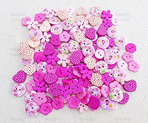 150pcs Pink Mix Wood Acrylic & Resin Buttons For Cardmaking Embellishments by Wedding Touches