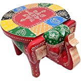 Trendy Crafts Traditional Colourful Wooden Elephant Stool Handicraft Gift Baby Sitter