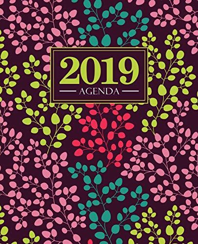 Agenda 2019: 19x23cm : Agenda 2019 semainier : Motif floral tendance, jaune, rose, bleu canard et corail  5678 par Papeterie Bleu