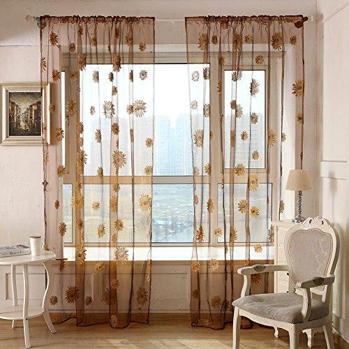 Tenda velata per portafinestra del balcone, in velo di tulle con girasoli stampati, tenda per finestra 1m x 2m, 1paio coffee