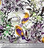 Soimoi Lila Satin Seide Stoff Blätter, Blumen & Robin
