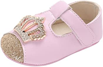 Voberry@ Voberry@ Baby-Girl's Infant Leather T Strap Shoes Crown Princess Sandals Toddler First Walker Shoes