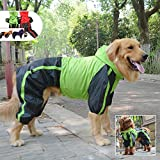Lovelonglong, Impermeabile per la pioggia con cappuccio, traspirante, con fori per 4 zampe, per cani di taglia piccola, media e grande