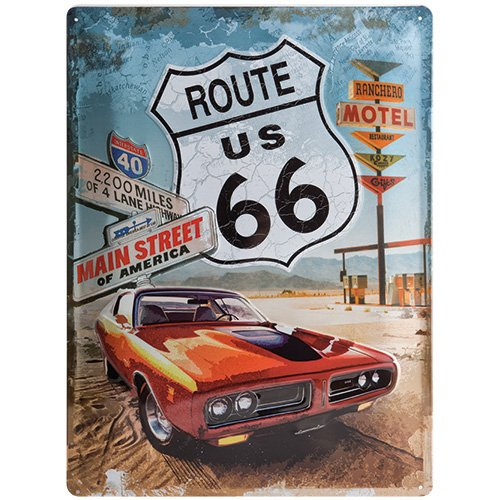 Nostalgic-Art 23123 US Highways - Route 66 Red Car, Blechschild 30x40 cm (Metall-schilder Der Route 66)