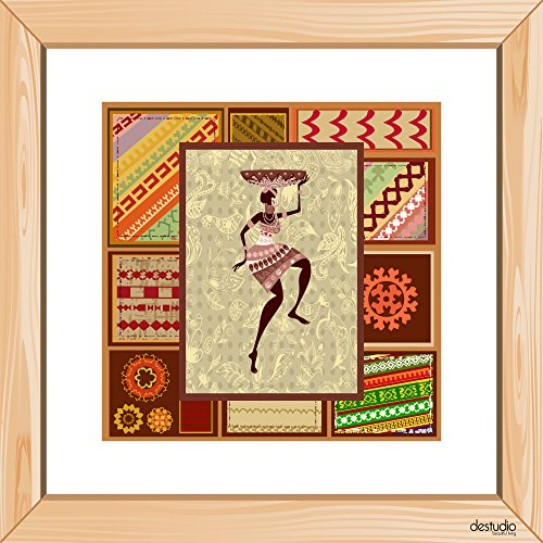 DeStudio African Girl With Pasely Background Light Brown Small Wall Painting Stickers (Wall Covering Area : 30cm X 30cm )-13981  available at amazon for Rs.79