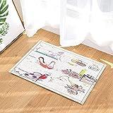 fdswdfg221 Girly Decor Fashion Make Up Thema mit Parfüm und High Heels in Blumen Badteppiche Rutschfeste Fußmatte Bodeneinstiege Indoor Front Door Mat Kinder Badmatte Bad-Accessoires