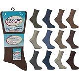 Men's 100% Cotton Diabetic Non Elastic Socks Soft Top Gentle Grip Ribbed Socks by Flexi-Top
