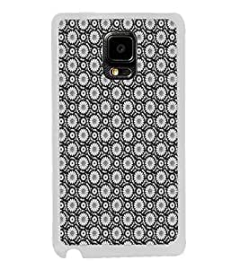 ifasho Animated Pattern design black and white flower in royal style Back Case Cover for Samsung Galaxy Note 4 Edge