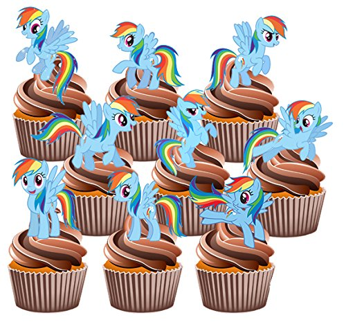 my-little-pony-rainbow-dash-cake-decorations-12-edible-stand-up-cupcake-toppers-by-akgifts